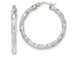 14k White Gold Twisted Textured Hoop Earrings style: TH701