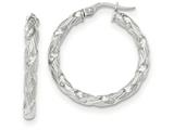 14k White Gold Twisted Textured Hoop Earrings style: TH702