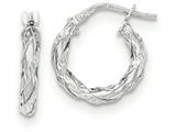 14k White Gold Twisted Rope Hoop Earrings style: TH703