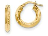 14k Beveled Tube Hoop Earrings style: TH706