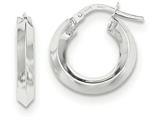 14k White Gold Beveled Tube Hoop Earrings style: TH707