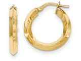 14k Beveled Tube Hoop Earrings style: TH708
