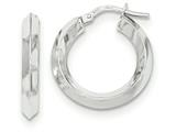 14k White Gold Beveled Tube Hoop Earrings style: TH709