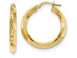 14k Beveled Tube Hoop Earrings style: TH710