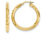 14k Beveled Tube Hoop Earrings style: TH712