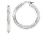 14k White Gold Beveled Tube Hoop Earrings style: TH713