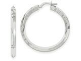 14k White Gold Beveled Tube Hoop Earrings style: TH715