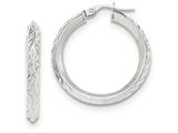 14k White Gold Bright Cut Hoop Earrings style: TH718