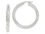 14k White Gold Diamond Cut Hoop Earrings style: TH719