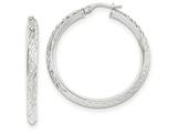 14k White Gold Bright Cut Hoop Earrings style: TH720