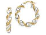14k and Rhodium Polished And Satin Twisted Hoop Earrings style: TH721