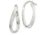 14k White Gold Twisted Textured Oval Hoop Earrings style: TH732