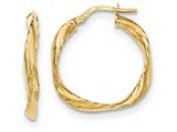 14k Twisted Square Hoop Earrings style: TH735
