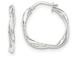 14k White Gold Twisted Square Hoop Earrings style: TH736