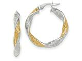 14k White Gold W/yellow Rhodium Textured Twisted Hoop Earrings style: TH737
