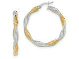 14k White Gold W/yellow Rhodium Textured Twisted Hoop Earrings style: TH738