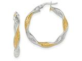 14k White Gold W/yellow Rhodium Textured Twisted Hoop Earrings style: TH739