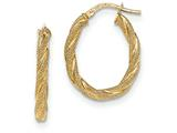 14k Twisted Textured Oval Hoop Earrings style: TH740