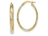 14k and Rhodium Polished 4.1mm Hoop Earrings style: TH741