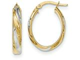 14k and Rhodium Polished 4.1mm Hoop Earrings style: TH742