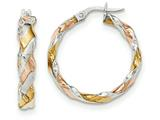 14k White Gold W/yellow and Pink Rhodium Twisted Hoop Earrings style: TH743