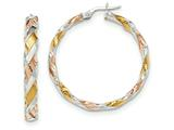 14k White Gold W/yellow and Pink Rhodium Twisted Hoop Earrings style: TH744