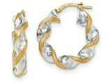 14k and Rhodium Polished And Satin Twisted Hoop Earrings style: TH745