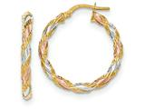14k Tri-color  Textured Twisted Hoop Earrings style: TH747