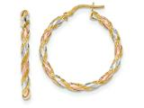 14k Tri-color  Textured Twisted Hoop Earrings style: TH748