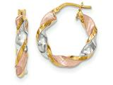 14k Tri-color Polished/satin Twisted Hoop Earrings style: TH749