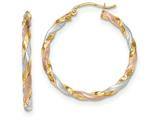 14k Tri-color Satin Twisted Hoop Earrings style: TH751
