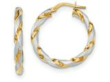 14k and Rhodium Polished And Satin Twisted Hoop Earrings style: TH752