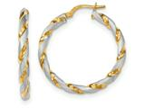 14k and Rhodium Polished And Satin Twisted Hoop Earrings style: TH753
