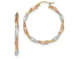 14k Tri-color Satin Twisted Hoop Earrings style: TH754