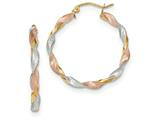 14k Tri-color Satin Twisted Hoop Earrings style: TH755