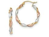 14k Tri-color Satin Twisted Hoop Earrings style: TH756
