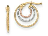 14k Tri-colored Hoop Earrings style: TH760