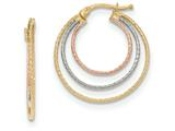 14k Tri-colored Hoop Earrings style: TH761