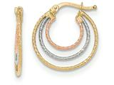 14k Tri-colored Hoop Earrings style: TH763