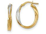 14k and Rhodium Polished And Satin Twisted Oval Hoop Earrings style: TH766