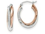 14k Rose And White Gold Polished Oval Tube Hoop Earrings style: TH769