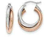 14k Rose And White Gold Polished Oval Hoop Earrings style: TH770