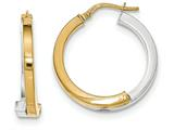 14k Two-tone Overlapping Square Tube Hoop Earrings style: TH772