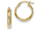 14k and Rhodium Polished 4.1mm Hoop Earrings style: TH773
