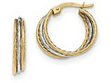 14k Two-tone Polished And Textured Hoop Earrings style: TH781