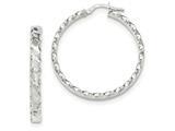14k White Gold Textured Scalloped Edge Hoop Earrings style: TH784