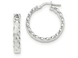 14k White Gold Textured Scalloped Edge Hoop Earrings style: TH786
