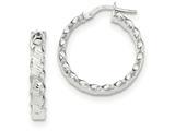 14k White Gold Textured Scalloped Edge Hoop Earrings style: TH786