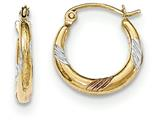 14k Tri-color  Polished and Textured Hoop Earrings style: TH789