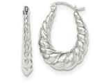 14k White Gold Polished And Textured Oval Hoop Earrings style: TH793